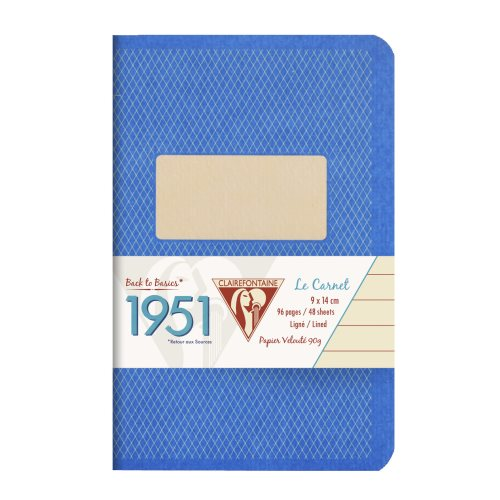 Back to Basics '1951' Carnet by Clairefontaine ; 9x14cm, lined, staple bound - 96 pages (blue)