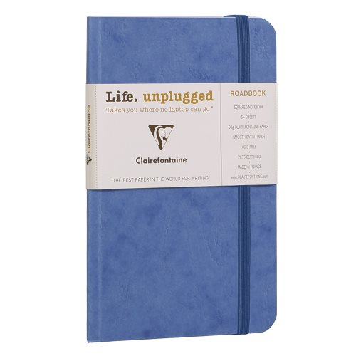Age Bag Carnet 'Roadbook' (9x14cm) petit carreaux 5x5 - dos carré collé - 128p - bleu
