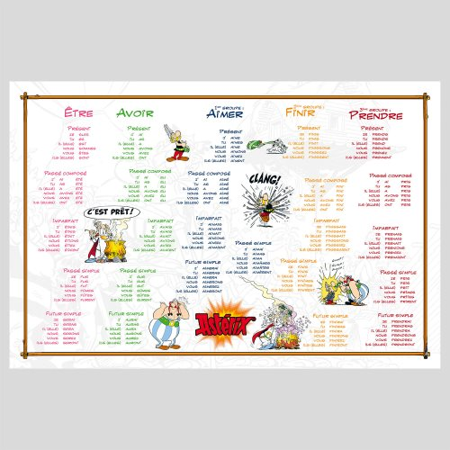 Asterix 'Magic Potion' Conjugation / Multiplaction Tables (Recto / Verso) Desk Blotter - 60x40cm