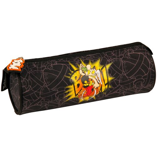 Asterix 'BOUM!' Cylindrical Pencil Case - Ø7x22cm - polyester outer / inner (black)