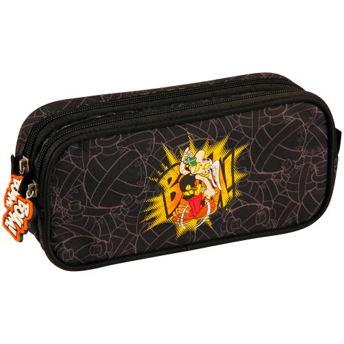 Asterix 'BOUM!' Rectangular Pencil Case with 2 Compartents- 22x6x10cm - polyester outer / inner (black)