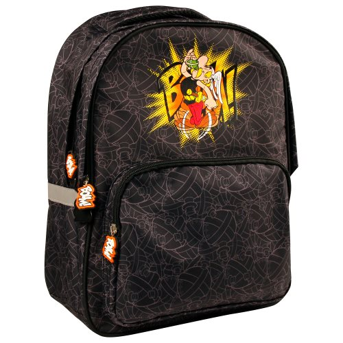 Asterix 'BOUM!' Backpack with 2 large zipped compartments & 1 front pocket - 30x14x40cm - polyester outer / inner (black)