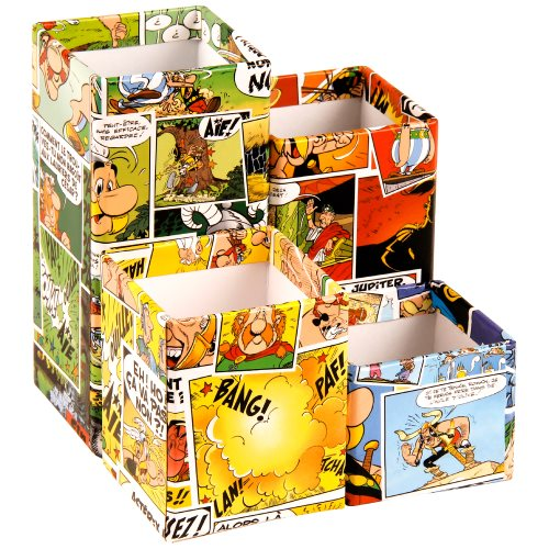 Asterix 'Comics' Set of 4 Magnetic Pencil Pots / Desk Tidy - 6x6x14cm- card construction