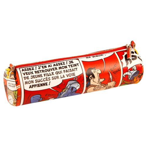 Asterix 'Comics' Cylindrical Pencil Case - Ø6x21cm, printed leatherette - (red motif)