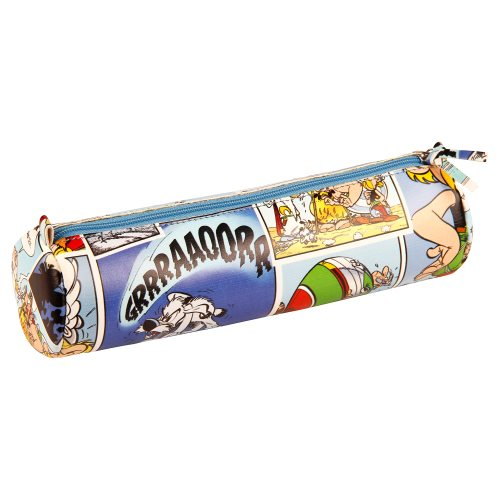Asterix 'Comics' Cylindrical Pencil Case - Ø6x21cm, printed leatherette - (blue motif)