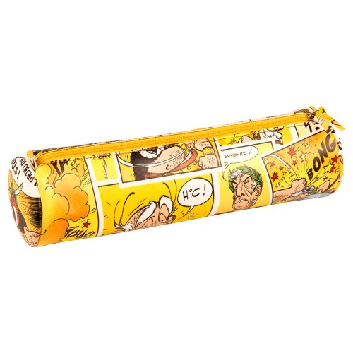 Asterix 'Comics' Cylindrical Pencil Case - Ø6x21cm, printed leatherette - (yellow motif)
