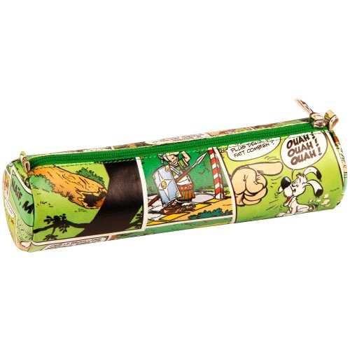 Asterix 'Comics' Cylindrical Pencil Case - Ø6x21cm, printed leatherette - (green motif)
