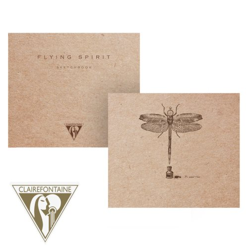 'Flying Spirit' by Clairefontaine ; 15,5x15,5cm sketch book, with sewn spine and 90gr ivory paper - 100p (brown 'kraft' / assorted rear cover design)