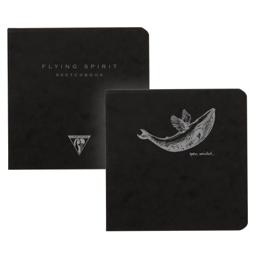 'Flying Spirit' by Clairefontaine ; 10,5x10,5cm pocket sketch book, with sewn spine and 90gr ivory paper - 100p (black premium pressboard / assorted rear cover design)