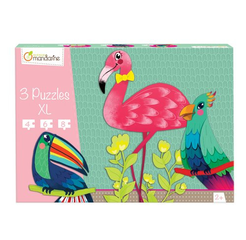 3 puzzles XL, tropical birds