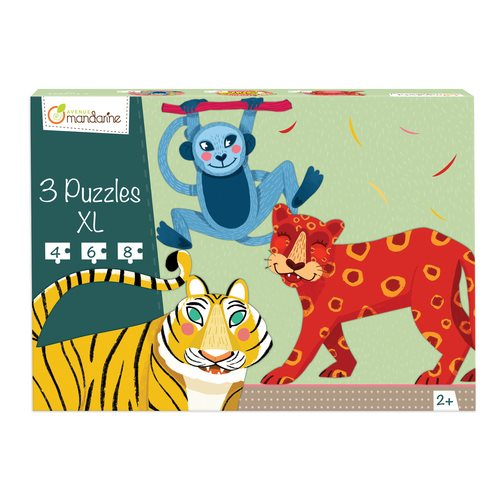 3 puzzles XL, jungle hairy animals