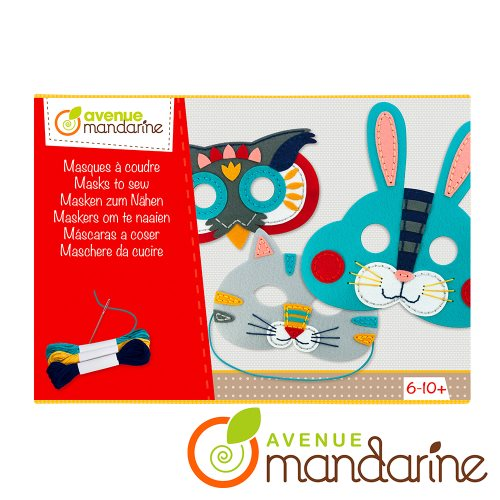Boite créative - Masques à coudre - Lapin, Hibou, Chat / Creative box - Masks to sew - Rabbit, Owl, Cat