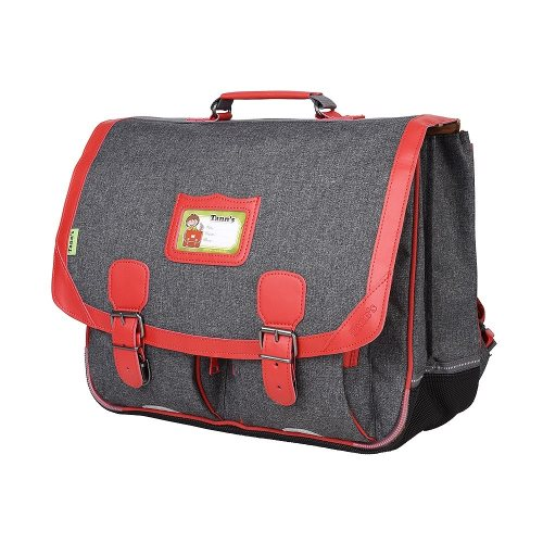 Cartable Tann's 'Chiné' grande 41cm - (gris/ rouge)