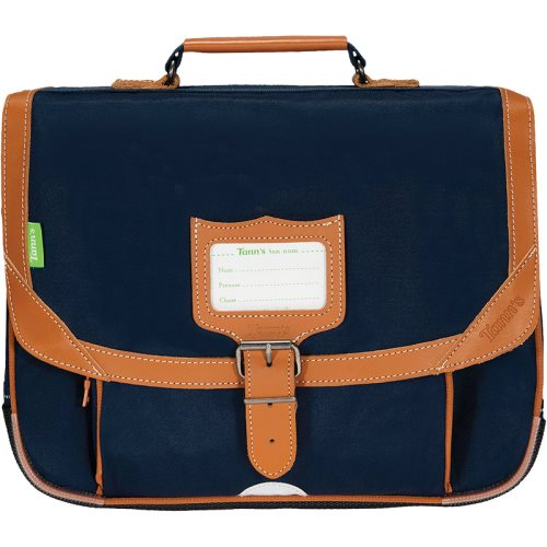 Cartable / Satchel by Tann's - 35cm Small - LES SIGNATURES: 'Camille' (marine blue, tan)