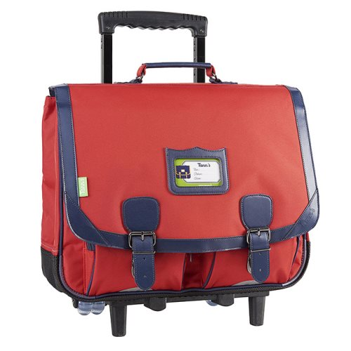 Cartable / Satchel Trolley by Tann's - 41cm Large - 'Salsa' (red, blue)