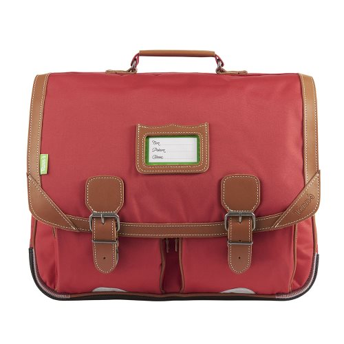 Cartable / Satchel by Tann's - 41cm Large - 'Madrid' (rouge & tan)