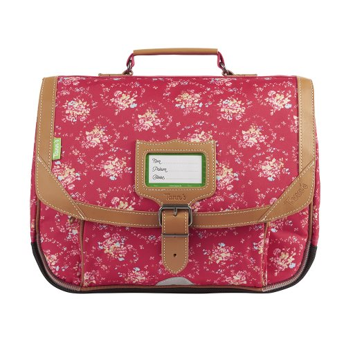 Cartable / Satchel by Tann's - 35cm Small - 'London' (rouge, bouquets, & tan)