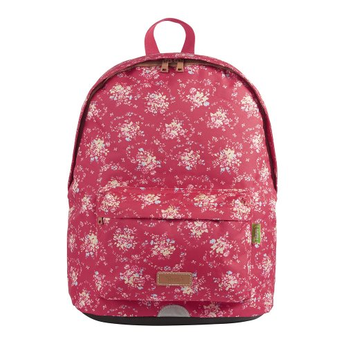 Sac / Day Pack by Tann's -  Medium w. single compartment - 'London' (red, & bouquets of flowers)