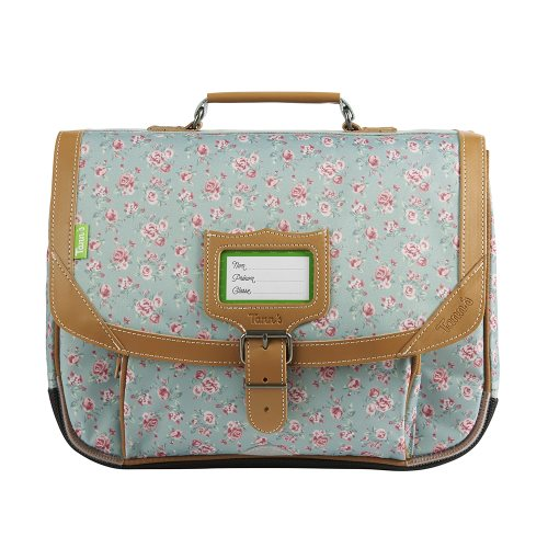 Cartable / Satchel by Tann's - 35cm Small - 'Edinburgh' (vert d'eau & pink roses)