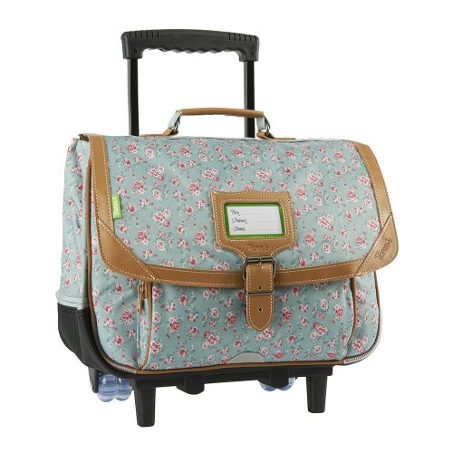 Cartable / Satchel Trolley by Tann's - 38cm Medium - 'Edinburgh' (vert d'eau & pink roses)