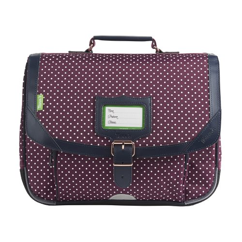 Cartable / Satchel by Tann's - 35cm Small - 'Miki' ('Bordeaux' purple, dark blue, & white polka dots)