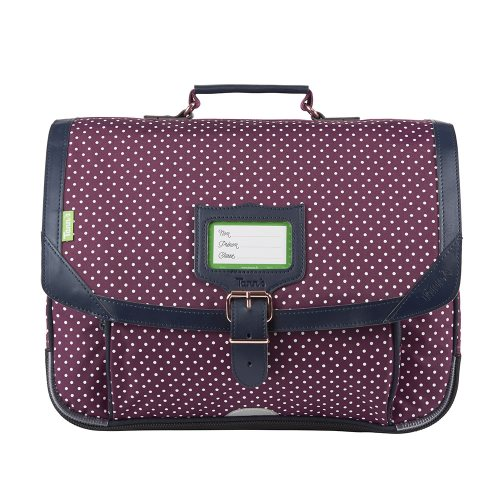Cartable / Satchel by Tann's - 38cm Medium - 'Miki' ('Bordeaux' purple, dark blue, & white polka dots)