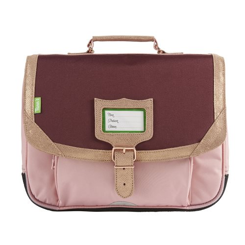 Cartable / Satchel by Tann's - 35cm Small - 'Palermo' (rose, burgundy & rose gold)
