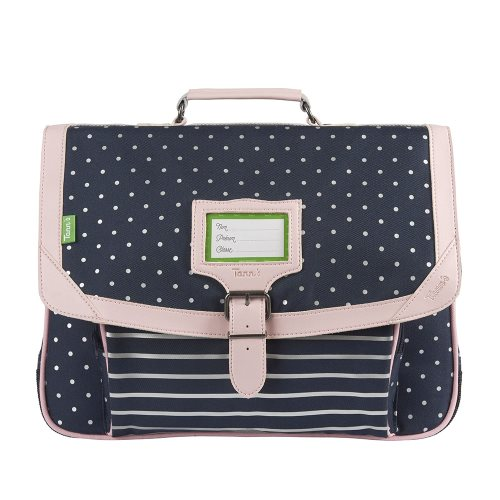 Cartable / Satchel by Tann's - 38cm Medium - 'Capsule' (blue, silver polka dots, rose)