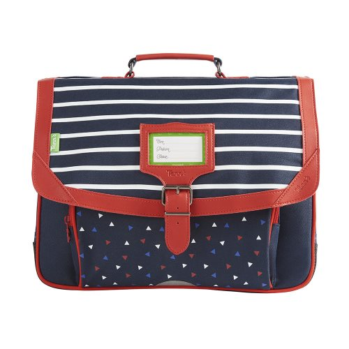 Cartable / Satchel by Tann's - 38cm Medium - 'Capsule - Brieu' (blue, white stripes & red)