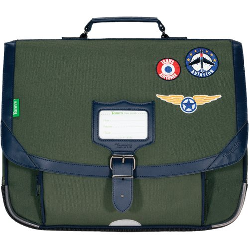 Cartable / Satchel by Tann's - 38cm Medium - LES FANTAISIES : 'Tom' (khaki green, blue, badges)