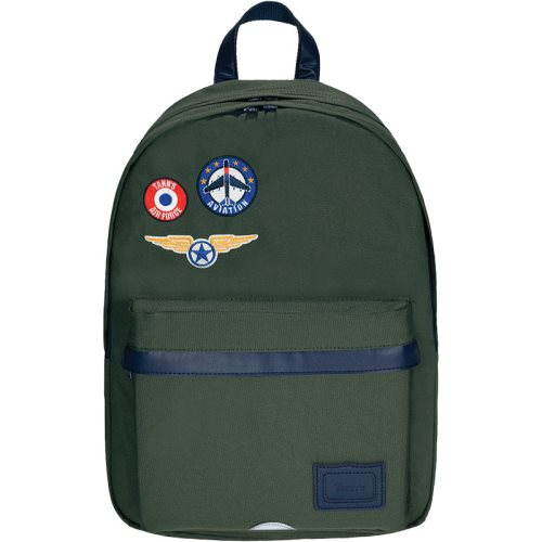 Sac / Day Pack by Tann's - Large w. 2 compartments - LES FANTAISIES: 'Tom' (khaki green, blue, badges)