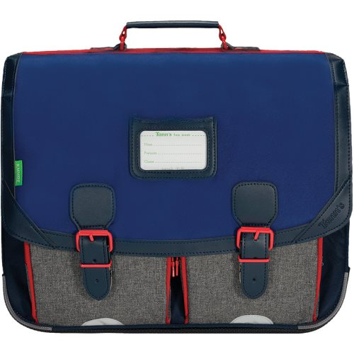 Cartable / Satchel by Tann's - 41cm Large - LES CHINES : 'Leo' (blueS, grey, red)