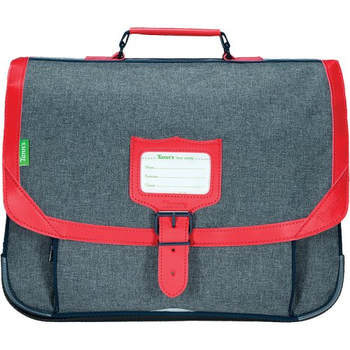 Cartable / Satchel by Tann's - 38cm Medium - LES CHINES : 'Max' (grey, red, blue)