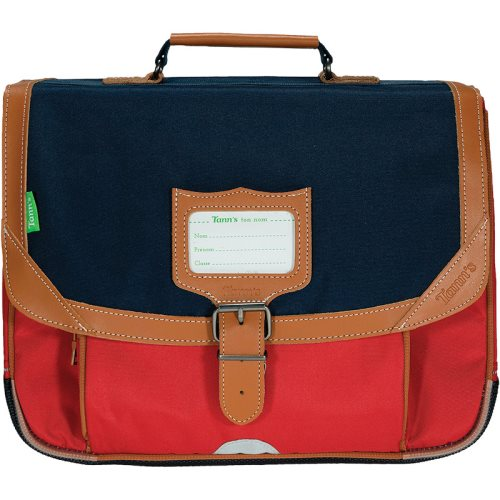 Cartable / Satchel by Tann's - 35cm Small - LES SIGNATURES: 'Arthur' (blue, red, tan)