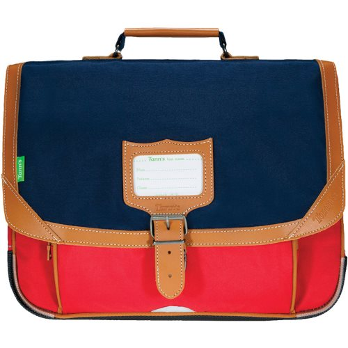 Cartable / Satchel by Tann's - 38cm Medium - LES SIGNATURES: 'Arthur' (blue, red, tan)