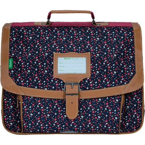 Cartable / Satchel by Tann's - 38cm Medium - LES FANTAISIES : 'Emma' (blues, rose, fleuri, tan)
