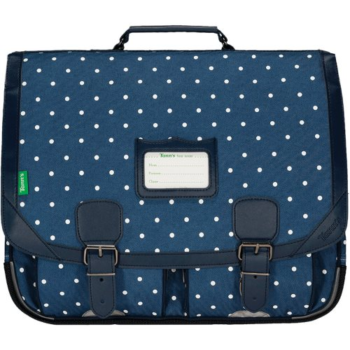 Cartable / Satchel by Tann's - 41cm Large - LES FANTAISISES : 'Angele' (denim blue , blue, whitle polka dots)