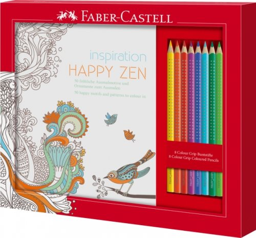Faber-Castell Inspiration Happy Zen set : coloring book for adults and 8 pencils