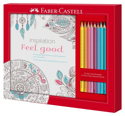 Faber-Castell Inspiration Feel Good set : coloring book for adults and 8 pencils