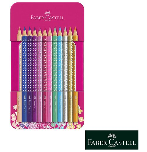 12 Faber Castell GRIP 'Sparkle' Coloured Pencils - Metal Gift Tin
