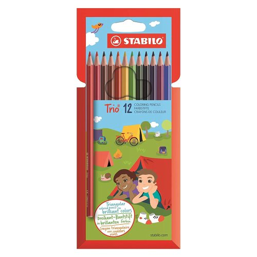 12 Crayons de Couleur Stabilo 'TRIO' (triangular barrel)
