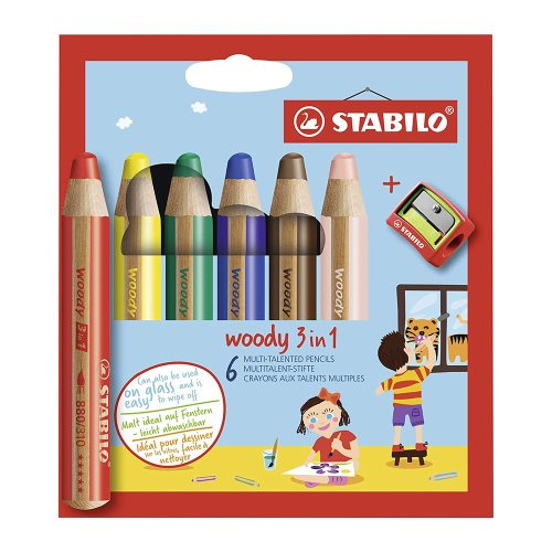 6 Stabilo 'Woody' Giant Coloured Crayons ; 10mm XXL lead, water soluble - with sharpener