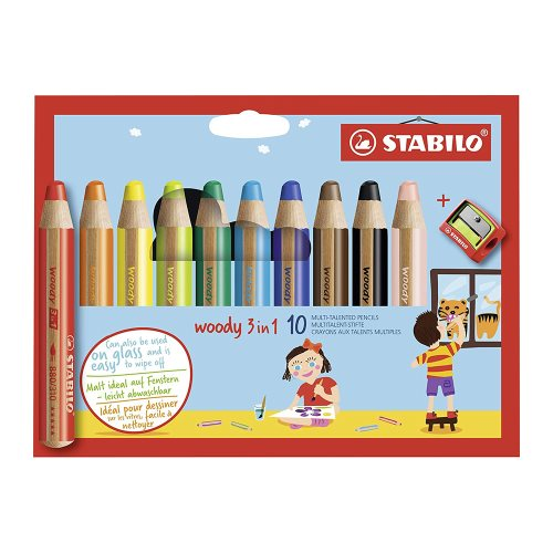 10 Stabilo 'Woody' Giant Coloured Crayons ; 10mm XXL lead, water soluble - with sharpener