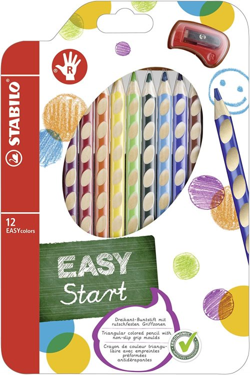 12 Crayons de Couleur Stabilo 'Easy Start', avec taille - Right Handed Editon