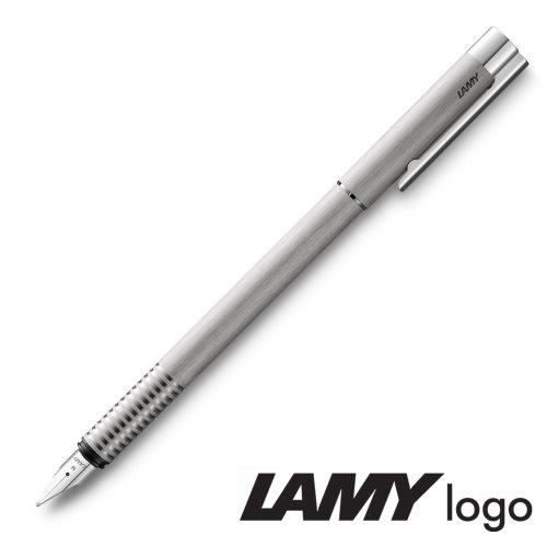Lamy 'Logo' Fountain Pen - Brushed Stainless Steel (006) - Broad Pointed Nib (T10 ink)