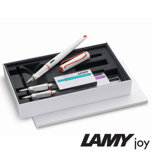 Lamy 'Joy' Calligraphy Fountain Pen Tinned Gift Set ; Limited Edition 'White & Red' with 3 chisel points & cartridges