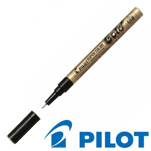 Pilot 'Super Color' Permanent Marker ; Extra Fine (EF) Point ~ 1mm - gold / or