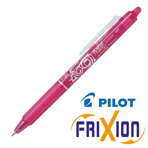 Erasable Gel Retractable Rollerball - Pilot Frixion Ball 'Clicker' Medium 0.7mm (rose / pink)