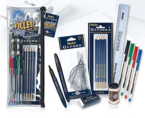 Filled Pencil Helix Oxford; regle, crayons, stylos bille, gomme, etc.