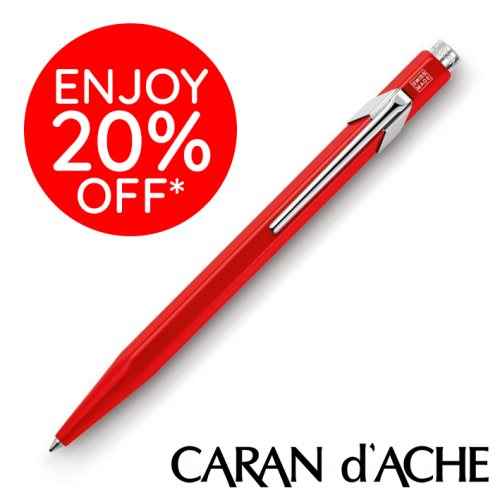 Caran D'Ache type '849' Ballpoint Pen – CLASSIC Red / Rouge – blue ink